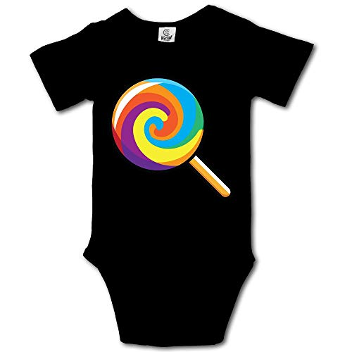 Ghhpws Lollipop Emoji Baby's Unisex Short Sleeve Comfortable Bodysuit Outfits Black Size 0-3 M