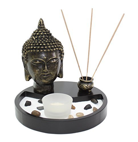 Tabletop Zen Garden Buddha Head Rock Candle Holder Incense Burner Home Decor from We pay your sales tax