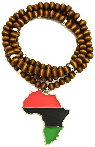 GWOOD Africa Metal Pendant with 30 Inch Long Wood Bead Necklace by GWOOD
