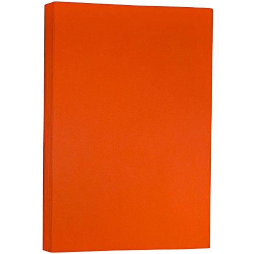 JAM PAPER Ledger Matte 24lb Paper - 11 x 17 Tabloid - Orange Recycled - 100 Sheets/Pack