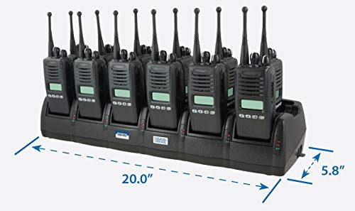 Our Premium Mobile Li-Ion/Li-Po/NiCD/NIMH 12-24 VDC Mobil 12-Bay Radio Battery Charger for Motorola, Charges: EX500 / EX560-XLS / EX600 / EX600-XLS / GP320 and Others, See Description ()