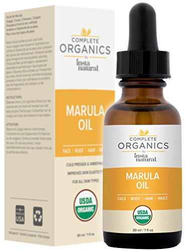 Organic Marula Oil - 100% Pure, Non GMO, Cold Pressed, Unrefined, Moisturizing and Balancing for Hair, Body, Hands or Cuticle & Normal to Oily Skin - Complete Organics by InstaNatural - 1 OZ - Moisturizing Normal Skin Body Wash