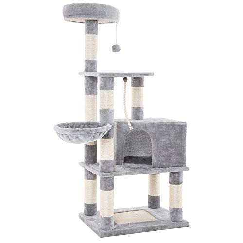 FEANDREA Cat Tree with Scratching Board, Basket Lounger and Large Cave UPCT60H (Best Cat Climbing Tower)