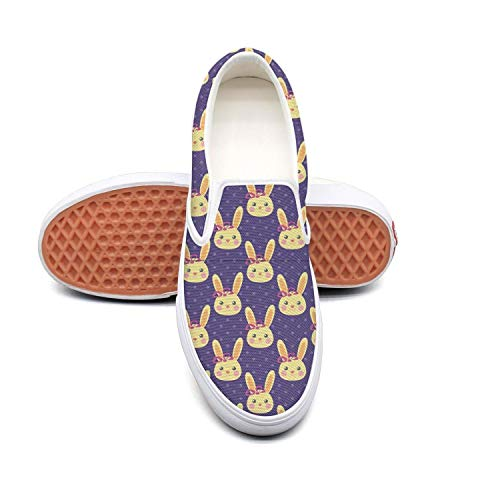 Womens Fashion Shoes Funny Yellow Bunny Blue Comfortable Loafers Slip on Casual Walking Sneakers