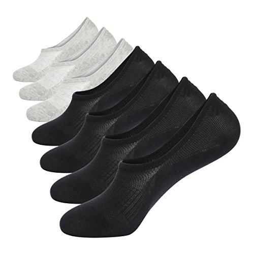No Show Socks Mens Pack Cotton Thin Non Slip Low Cut Men Invisible Sock 10-12 (4black+3gray)