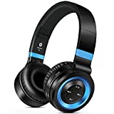 Sound Intone Bluetooth Headphones Over Ear, 8 Hour Battery HD Deep Bass Headsets with Microphone, Comfortable Noise Reduction Earmuffs, TF Card & FM Radio for Cell Phone/TV/PC(black blue)