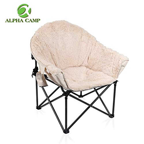 ALPHA CAMP Folding Oversized Padded Plush Moon Chair with Cup Holder and Carry Bag-Beige