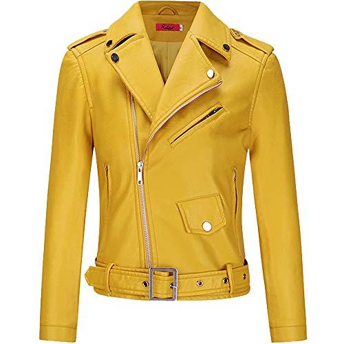 BOMBAX Womens Slim Leather Motorcycle Jacket Blazer Short Bike Coat with Pocket Fall Yellow