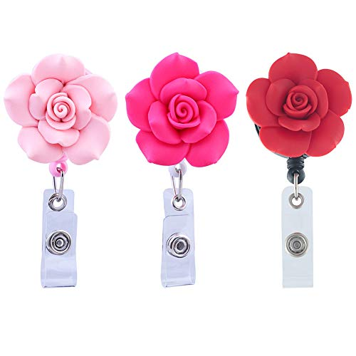 Soleebee 28 inches Retractable Badge Reels Polymer Clay Rose Nurse ID Badge Holder Reel with Belt Clip 3 Pack - Pink/Hot Pink/Red (Clays Belt)
