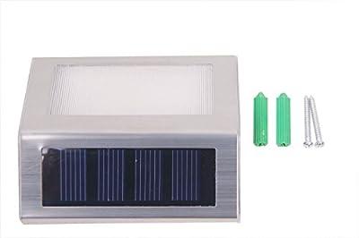 HOSL 6 Pack Upgrated Solar Powered Stainless Steel Staircase LED Solar Step Lights, Solar Dock Light