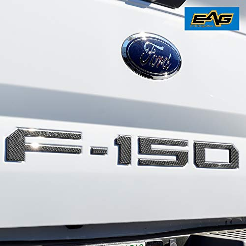 EAG Tailgate Letters Insert Overlay for 2018 2019 Ford F-150 - Carbon Fiber Look ()