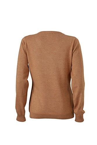 James & Nicholson–V de jersey con cuello marrón claro