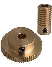 CNBTR Yellow Brass Worm Gear Shaft 60T Brass Worm Gear Wheel 0.5 Modulus Set