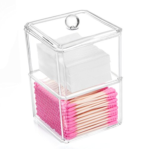 hblife Cotton Ball and Swab Holder Organizer, Clear Acrylic Cotton Pad Container for Cotton Swabs, Q-Tips, Make Up Pads, Cosmetics and More (Swab Holder)