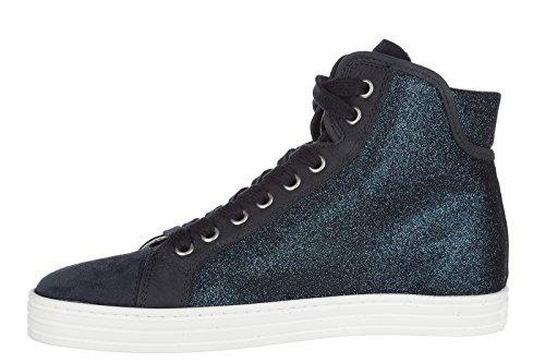 Hogan Rebel Scarpe Da Donna Da Donna Suede Scarpe Sneakers Alte R182 Blu
