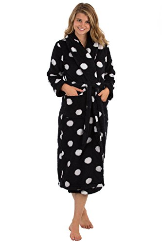 VEAMI Women's Microfiber Fleece Bathrobe-Obsidian Charm-Medium, Long