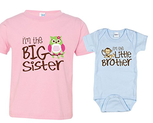 Little Brother Big Sister Shirt, Shirt with Owl Includes Size 4 and 0-3 mo (Big Sister Big Brother Shirts compare prices)