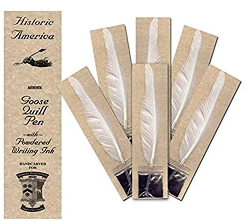 Quill Pens, Set of 12 Goose Quill Feather Pens with Powdered Ink, Hand Carved Feather Pen, Sign Constitution