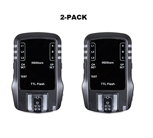 { WIRELESS TTL FLASH TRANSCEIVER } 2.4Ghz 7 Channel for Nikon D3000, D3100, D3200, D3300, D5000, D5100, D5200, D5300, D5500, D7000, D7100, D7200, D90, D200, D300 D500 Digital SLR Cameras (2-Pack) by HDStars