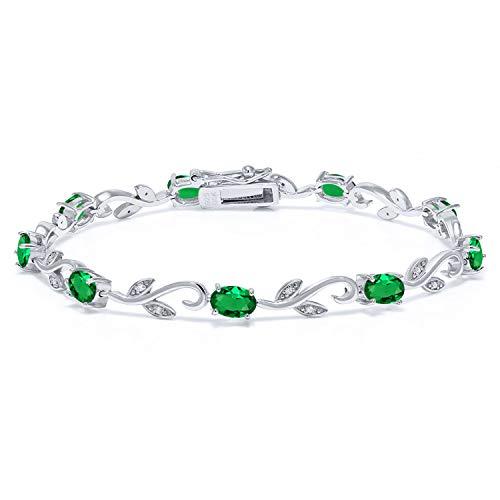 Gem Stone King 925 Sterling Silver 3.73 Ct Oval Green Simulated Emerald Greek Vine 7 Inch Diamond Bracelet