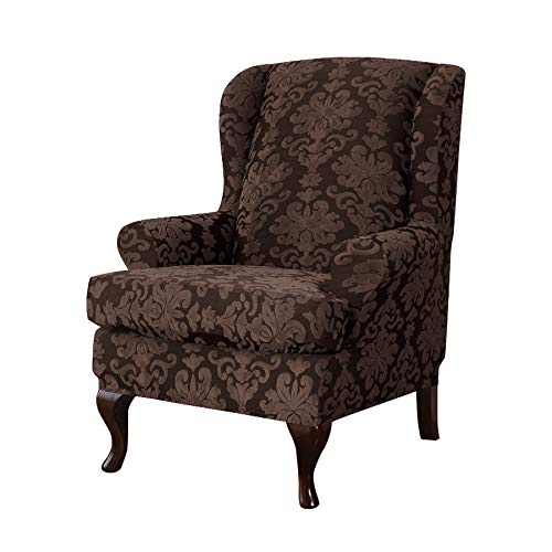 CHUN YI 2-Piece Elegant Jacquard Wing Chair Slipcovers,Wing Back Wingback Armchair Chair with Arms Easy Fitted Sofa Cover Covers,High Elasticity Furniture Protector (Wing Chair, Chocolate) (Back Wingback High Chair)