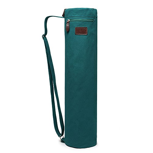 Fremous Yoga Mat Bag and Carriers for Women and Men – Double Storage Pocket – Easy Access Zipper – Adjustable Shoulder Strap and Handle (Dark Green)