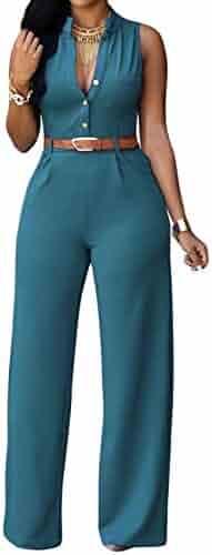 79591f67ea roswear Women s Sexy Plunge V Neck Belted Wide Leg Jumpsuits Dress