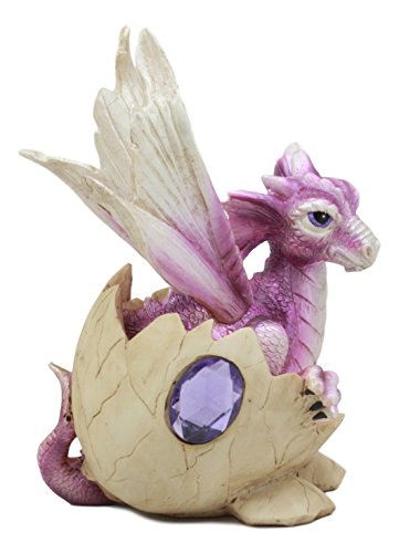 Purple February Gem - Ebros February Birthstone Dragon Egg Statue 5.5