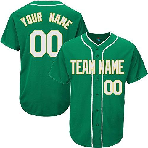Green Custom Baseball Jersey for Men Women Kids Full Button Mesh Embroidered Team Name & Numbers S-5XL -