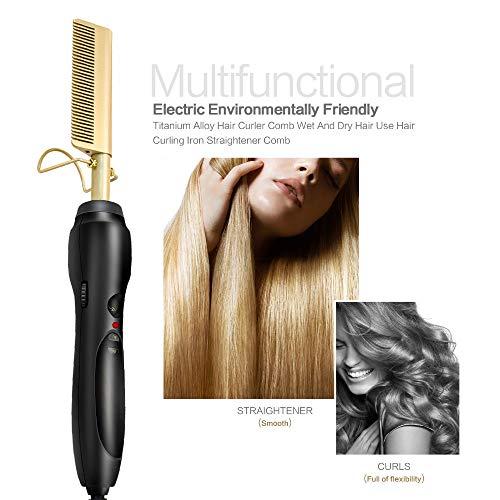 Beard Straightener Brush Comb for Men/Women, Quick Electric Heated Beard Brush Beard Styler, Travel Portable Electric Heated Beard Brush Beard Styler (UK Plug) (Best Heated Brush Uk)