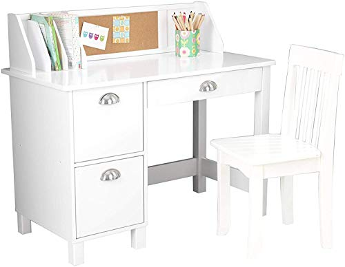 VivRae Kids Desk with Chair and Storage Set - Activity Study Writing Table with Hutch Corc Bulletin Board and File Organizer - Toddler Room Furniture (White)