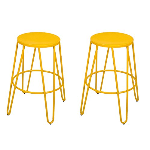 "Homebeez 26"" Height Bar Stools Metal Stackable Round Top Backless Barstools, Set of 2, Yellow"