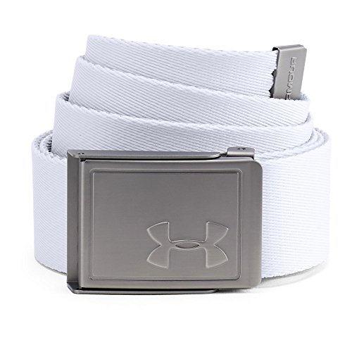 Under Armour Men's Webbing Belt 2.0, White (100)/Silver, One Size