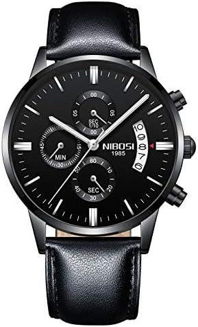 NIBOSI Watches Men Sport Quartz Watches Waterproof Wrist Watch Gift Three-Eye 6-pin Solid Leather Belt Watch