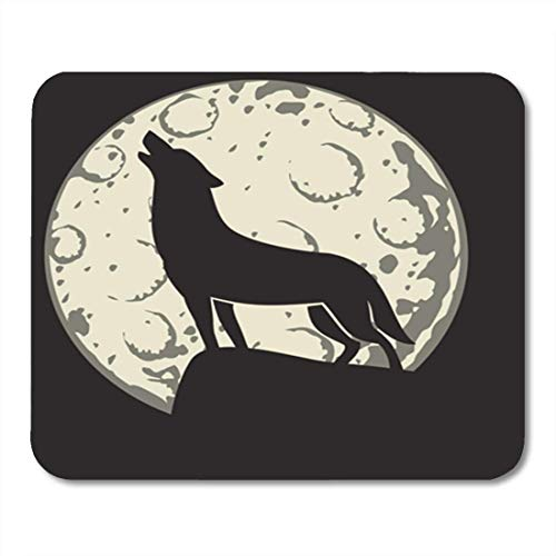 (Yanteng Mouse Pads Gaming Mouse Pad Full Silhouette of Wolf in The Moonlight Moon Cartoon Halloween Howling Alertness Decor Office Computer Accessories Nonslip Rubber Backing Mousepad Mouse)