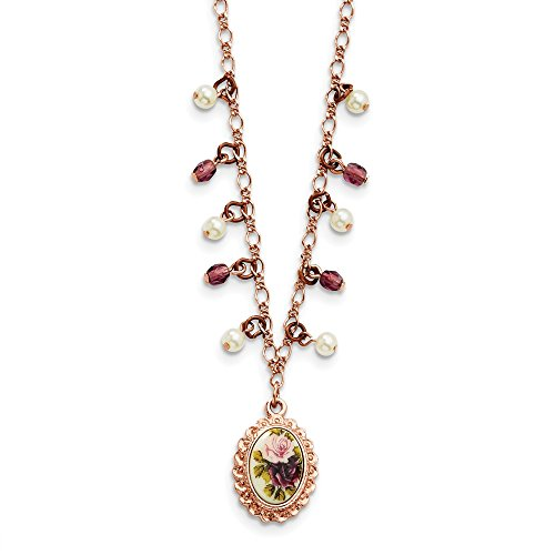 Jewelry Necklaces Pearls Rose-tone Purple Crystal, Simulated Pearl, Decal 16in with ext -