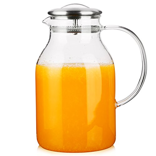 Hiware 68 Ounces Glass Pitcher with Lid and Spout - High Heat Resistance Stovetop Safe Pitcher for Hot/Cold Water & Iced Tea ()