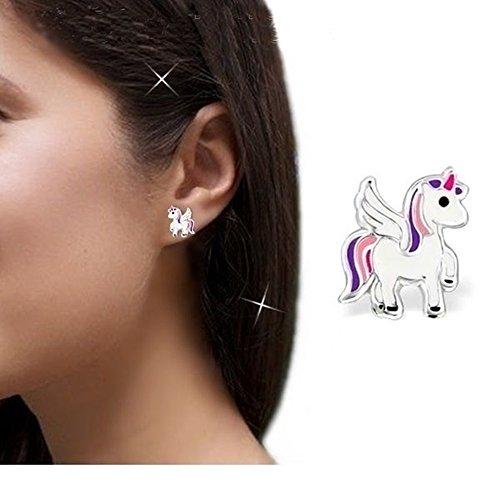 gh1a Unicornio Juego colgante + collar + pendientes plata de ley 925