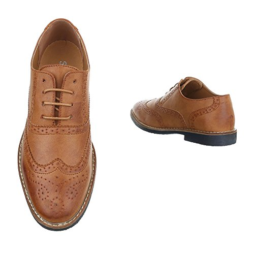 Ital-Design - Zapatos Planos con Cordones Hombre marrón claro