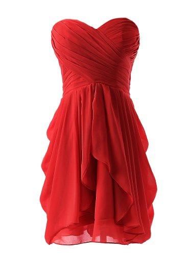 Dressystar Short Strapless chiffon party dress evening dress Red 4