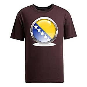 Custom Mens Cotton Short Sleeve Round Neck T-shirt, Printed with World Cup Images brown by lolosakes