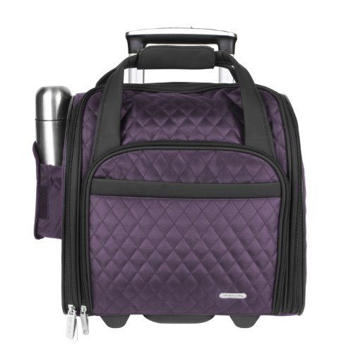 Travelon Wheeled Underseat Carry-On with Back-Up Bag, Quilted Microfiber, Eggplant, One Size