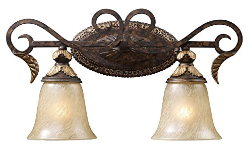 Regency 2 Light Vanity in Burnt Bronze and Gold Leaf (Leaf Burnt Gold Sconce)