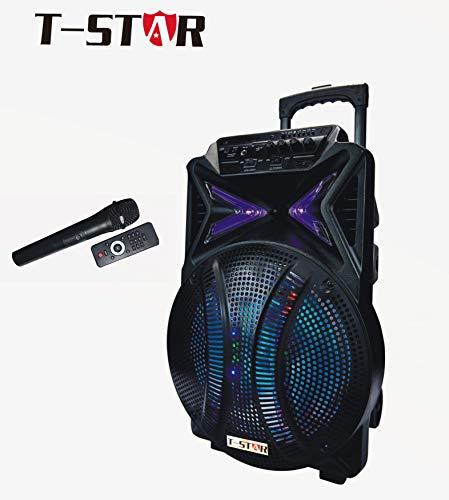 "T-STAR 12"" Inch Portable Speaker Karaoke Bluetooth DJ PA Battery LED + Wireless Mic + Remote Control"