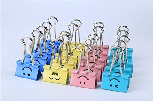 (Cute Smile Face Designed Binder Clips Paper Clamps, 32mm,Pack of 24)