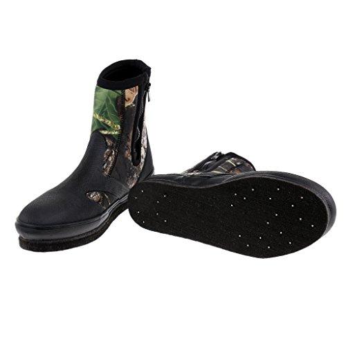 MagiDeal Anglerstiefel Schuhe Neopren-Gummistiefel - Wasserdicht Anti-Rutsch mit Reißverschluss Camouflage 8