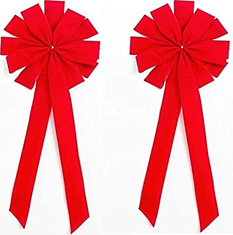 """12/"""" Hand Made WIRED BRIGHT RED Christmas Bow Velvet Indoor Outdoor Holiday"""