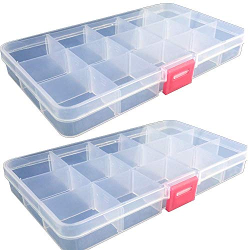 - Plastic Jewelry Storage Containers Organizer Boxes Cases for Jewelry Earring Beads Embellishments Small Items, [15 Removable Grids Adjustable Dividers ] Pack of 2