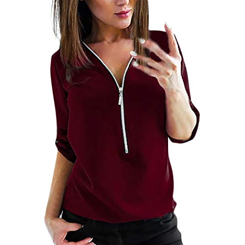 17 Eyelets 3 Zipper - Promotion! Clearance Sale! Seaintheson Womens Zipper Loose T-Shirt Casual Tops Shirt Ladies V Neck Blouse Tee Top