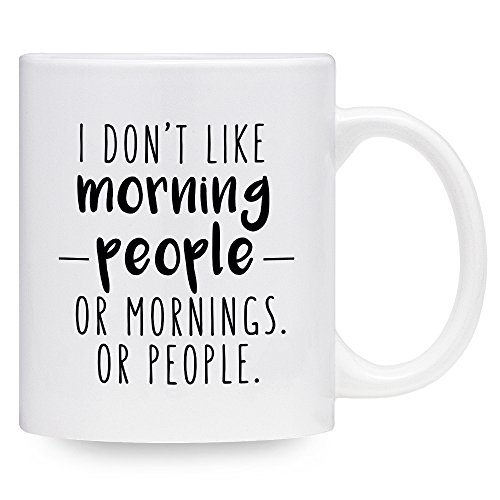 Funny Coffee Mug I Don't Like Morning People Or Mornings Or People Mug Gift Idea (11 oz) (Oz White Mug 11 People)